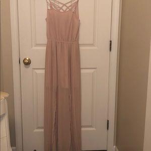 Beautiful blush pink pleated maxi dress with slits
